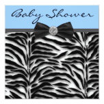 Blue Zebra Baby Boy Shower Personalized Announcements