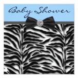 Blue Zebra Baby Boy Shower Personalized Announcements