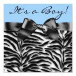 Blue Zebra Baby Boy Shower Invitations