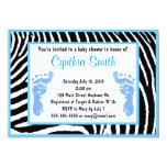 Blue Zebra Baby Shower Invitations