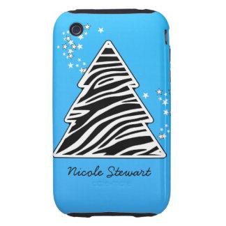 Blue Zebra Christmas Tree Tough iPhone 3 Covers