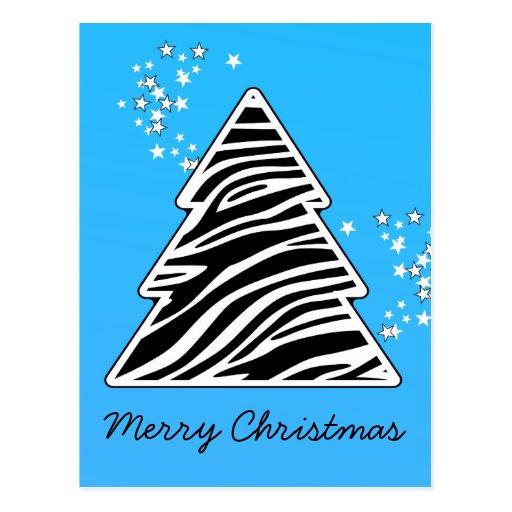 Blue Zebra Christmas Tree Postcard