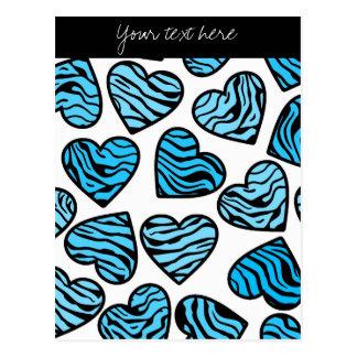 Blue Zebra hearts Design Postcard Postcard