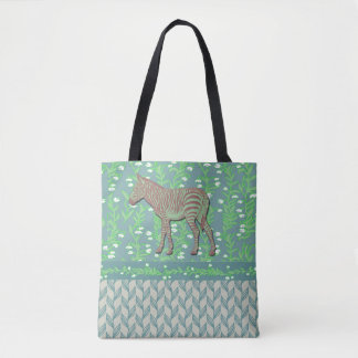Blue Zebra in Snow Drops Tote Bag