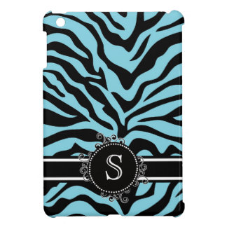 Blue Zebra Pattern with Monogram iPad Mini Case