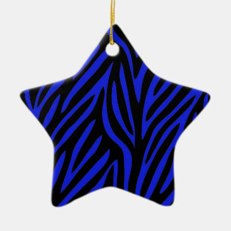Blue Zebra Print Christmas Ornament
