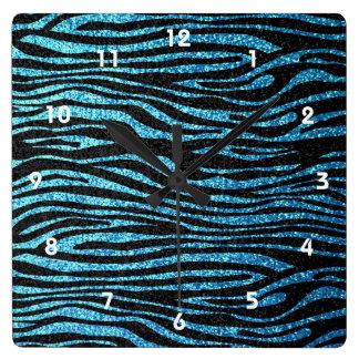 Blue zebra print (faux glitter bling) clock