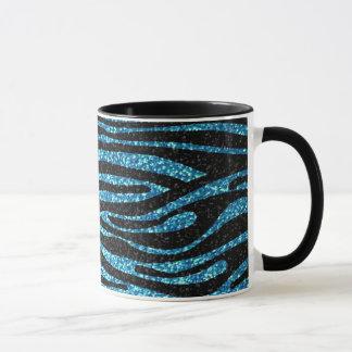 Blue zebra print (faux glitter bling) mug