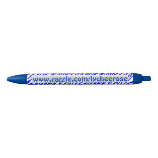Blue Zebra print lycheerose pen