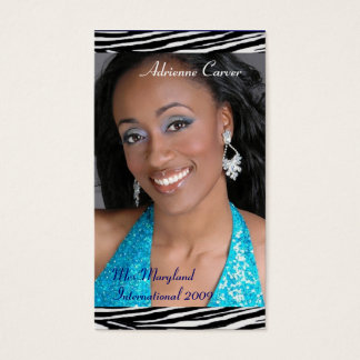 Blue Zebra Print Pageant Business Cards