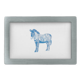 Blue zebra rectangular belt buckle