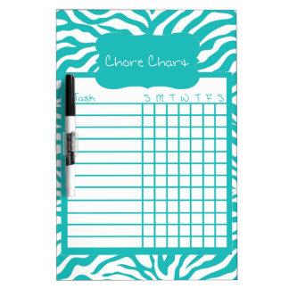 Blue Zebra Stripe Chore Chart Dry Erase Board