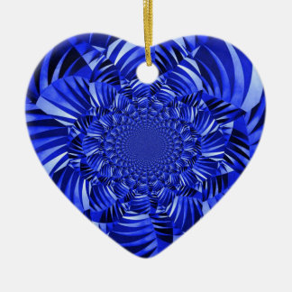 Blue zebra striped flower christmas ornament