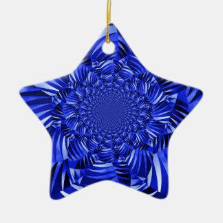 Blue zebra striped flower christmas ornament