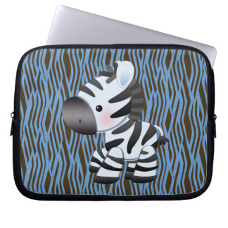 Blue Zebra & Texture Animal Print Laptop Sleeve