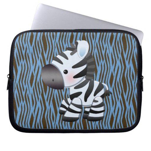 Blue Zebra & Texture Animal Print Laptop Sleeve