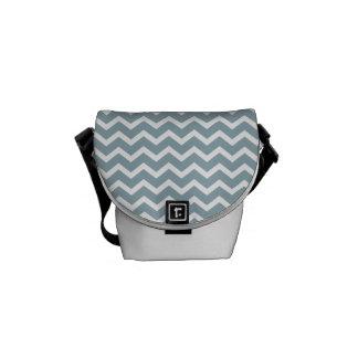 Blue Zig Zag Chevrons Pattern Messenger Bags