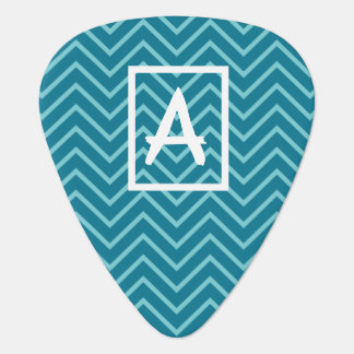 Blue zig zag personalized initial guitar pick