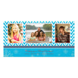Blue zigzag chevron christmas holiday 3 photo card
