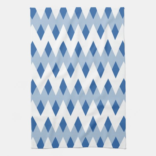 Blue Zigzag Pattern with Diamond Shapes. Tea Towel