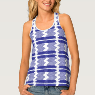 Blue Zigzag & Stripe Tank Tank Top