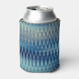 Blue Zigzag Wavy Pattern Can Cooler