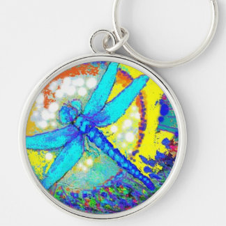 "Blue""Zinger"" Dragonfly Silver-Colored Round Key Ring"