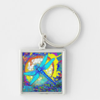 "Blue Zinger"" dragonfly Silver-Colored Square Key Ring"