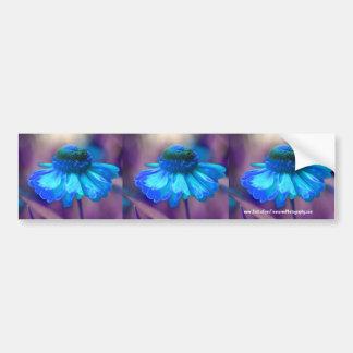 Blue Zinnia Flower Bumper Sticker Car Art