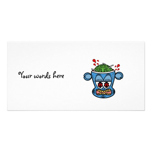 Blue zombie monkey picture card
