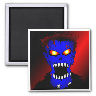 Blue Zombie pieces of Flair Square Magnet