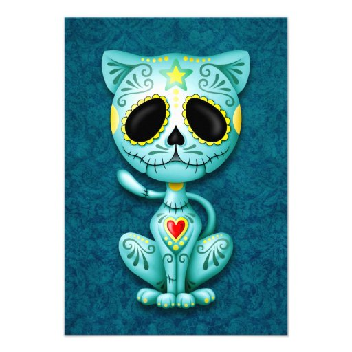 Blue Zombie Sugar Kitten Cat Personalized Announcements