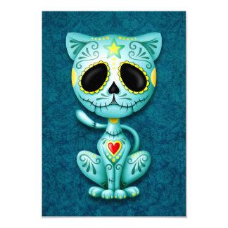 Blue Zombie Sugar Kitten Cat 9 Cm X 13 Cm Invitation Card
