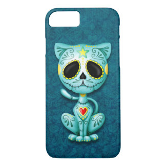 Blue Zombie Sugar Kitten iPhone 7 Case