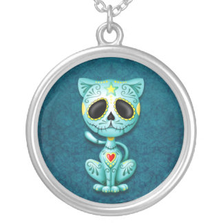 Blue Zombie Sugar Kitten Silver Plated Necklace