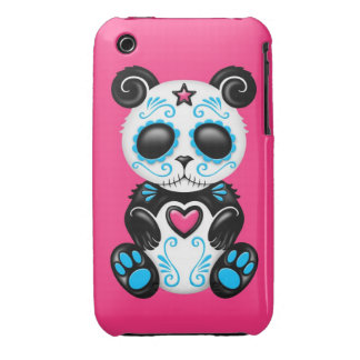 Blue Zombie Sugar Panda on Pink iPhone 3 Cover