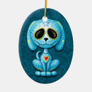 Blue Zombie Sugar Puppy Christmas Ornament
