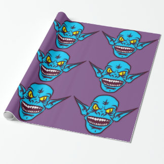 blue zombie troll demon wrapping paper