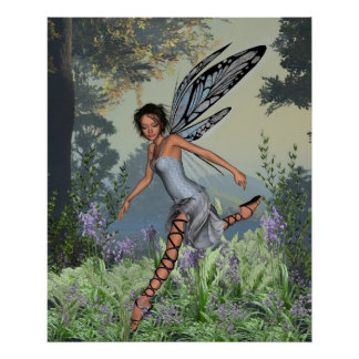 Bluebell Fairy in Spring Woodland Poster