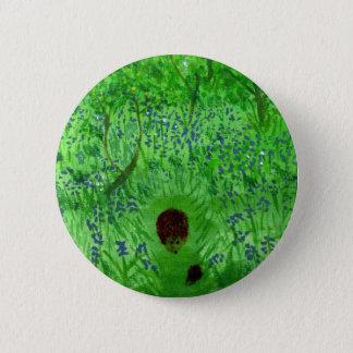 Bluebell Wood Hedgehogs Art 6 Cm Round Badge