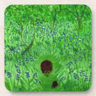 Bluebell Wood Hedgehogs Art Coaster
