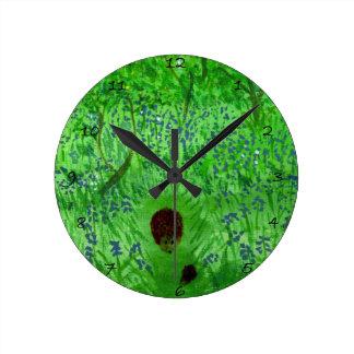 Bluebell Wood Hedgehogs Nature Art Round Clock