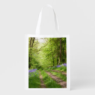 bluebell wood road less traveled grocery bag