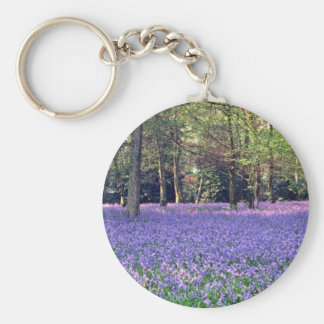 Bluebell Woods, England  flowers Basic Round Button Key Ring