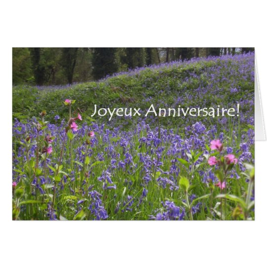 Bluebells Birthday Card - French Greeting