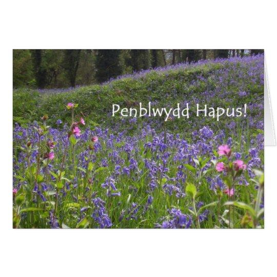 Bluebells Birthday Card - Welsh Greeting