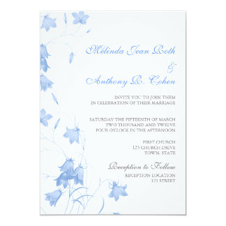 Bluebells - Blue 5x7 Wedding Invitation