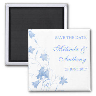 Bluebells - Blue Save the Date Square Magnet