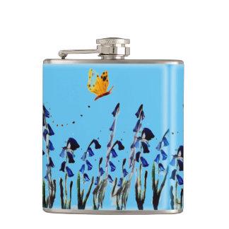 Bluebells butterfly floral art hip flask