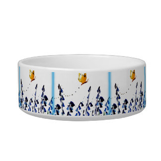 Bluebells butterfly floral art pet food bowl